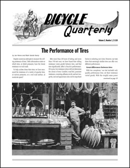 Bicycle Quarterly: Performance of Tires