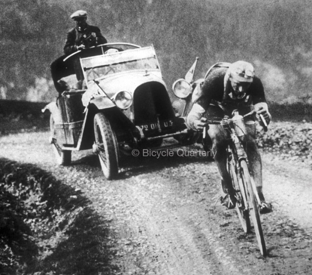 Photo: Nicolas Frantz on the way to winning the 1928 Tour de France in a photo from The Competition Bicycle.