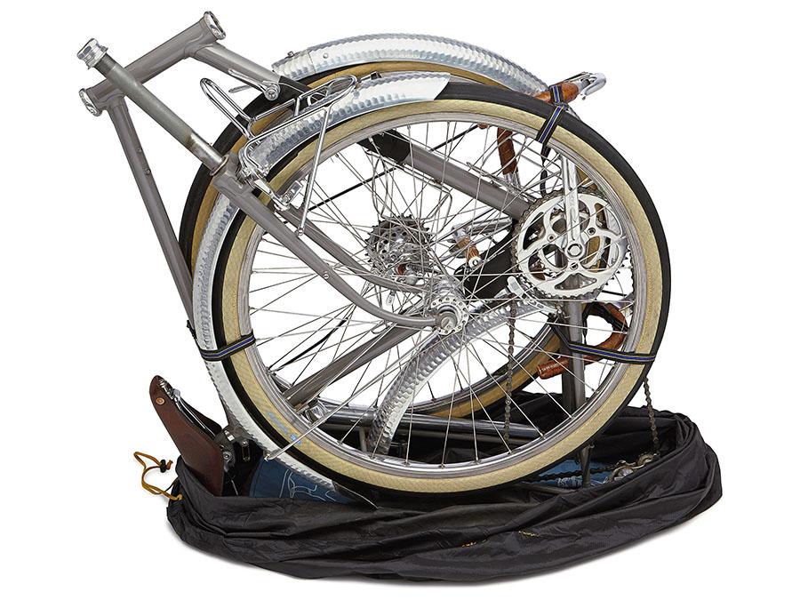 Rinko bike disassembled for travel